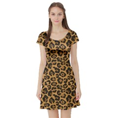 Brown A Yellow And Black Jaguar Spotted Repeatable Short Sleeve Skater Dress by CoolDesigns