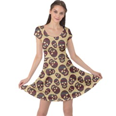 Brown Pattern With Skulls Cap Sleeve Dress by CoolDesigns