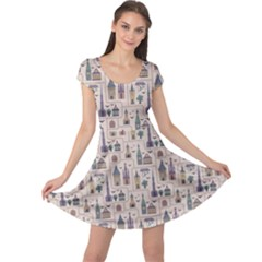 Blue Pattern Ancient Town Castles Houses Trees Birds Cap Sleeve Dress by CoolDesigns