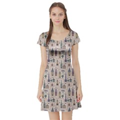 Blue Pattern Ancient Town Castles Houses Trees Birds Short Sleeve Skater Dress by CoolDesigns