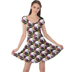 Colorful Side Face White Skull Floral Colorful Rose Flowers Cap Sleeve Dress