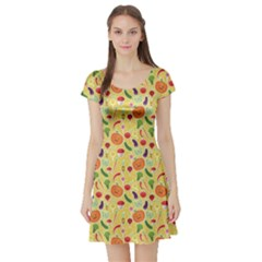 Colorful Vegetables Pattern Short Sleeve Skater Dress by CoolDesigns