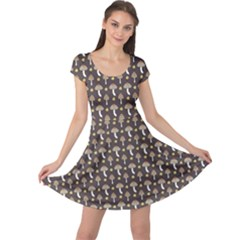 Dark Of Pattern With Abstract Mushrooms And Leaves Cap Sleeve Dress by CoolDesigns