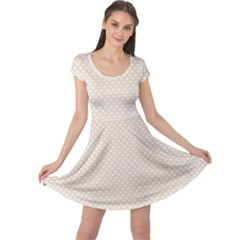 Gray White Abstract Rhombus Lace Pattern Cap Sleeve Dress