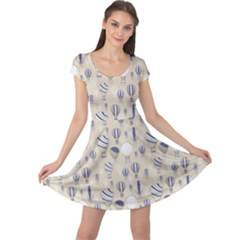 Gray Pattern With Balloons Cap Sleeve Dress by CoolDesigns