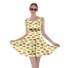 Orange Pattern With Funny Bunnies Skater Dress