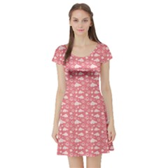 Pink Childlike Pattern With Cute Elephant Short Sleeve Skater Dress by CoolDesigns