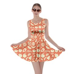 Orange Fruit And Vegetables Pattern Skater Dress by CoolDesigns