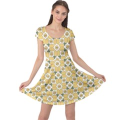 Orange Fruit Pattern Of Lemons Cap Sleeve Dress by CoolDesigns