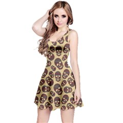 Brown Pattern With Skulls Sleeveless Dress