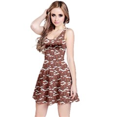 Dark American Football Design Over Balls Pattern Sleeveless Dress