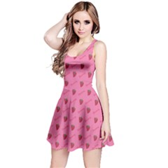 Pink Pattern Of Sketched Strawberry Sleeveless Dress by CoolDesigns