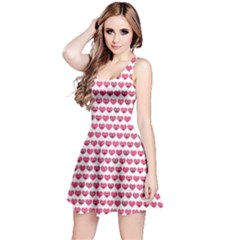 Pink Pattern With Valentine Hearts Smiles Sleeveless Dress