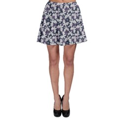 Blue Violet White Floral Pattern Silhouettes Butterflies Skater Skirt by CoolDesigns