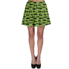 Green Icons Of Car Pattern Skater Skirt by CoolDesigns