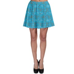 Blue Pattern With Flowers Animal Weather Motives Skater Skirt by CoolDesigns