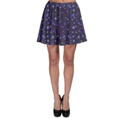Blue Winter Pattern With Branches Skater Skirt by CoolDesigns