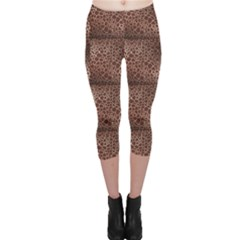 Brown Animal Skin Pattern Of Giraffe Print Capri Leggings by CoolDesigns
