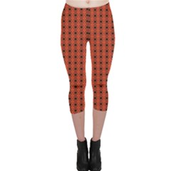 Red Black Pattern Geometric On Red Capri Leggings by CoolDesigns