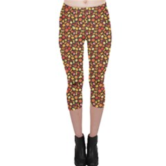 Orange Pattern With Colorful Fruits Capri Leggings by CoolDesigns