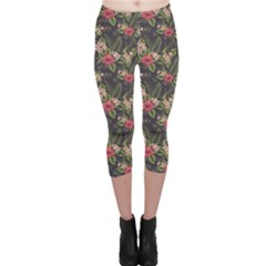 Colorful Tropical Floral Pattern Plumeria Hibiscus Flowers Capri Leggings by CoolDesigns