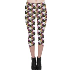 Colorful Side Face White Skull Floral Colorful Rose Flowers Capri Leggings by CoolDesigns