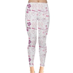 Purple Heart End Flower Pattern Leggings by CoolDesigns