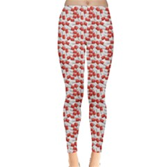 Red Medical Pills Over White Pattern Leggings by CoolDesigns