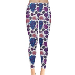 Purple Pattern Of Blue And Lilac Fruits Leggings by CoolDesigns