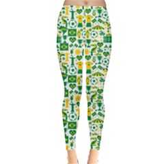 Green Brazil Country Foodball Shirts Flags Pattern Leggings by CoolDesigns
