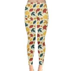 Colorful Pattern With Falling Leaves Leggings by CoolDesigns