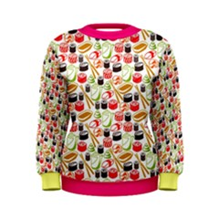 Colorful Tone Sushi Set Meal Pattern Women s Sweatshirt by CoolDesigns