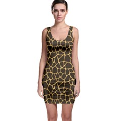 Brown A Brown And Yellow Giraffe Spotted Repeatable Bodycon Dress by CoolDesigns