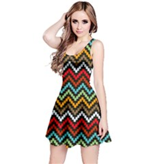 Dark Hand Painted Style Chevron Pattern Sleeveless Dress by CoolDesigns