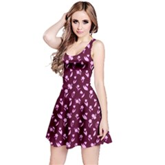 Dark Red Flowers Floral Pattern Sleeveless Dress