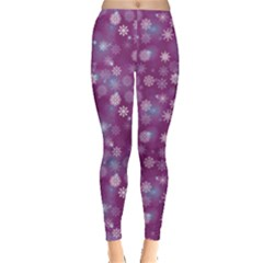Purple Snowflakes Pattern Leggings  by CoolDesigns