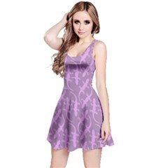 Purple Tone Cute Gecko Shape Pattern Sleeveless Dress by CoolDesigns