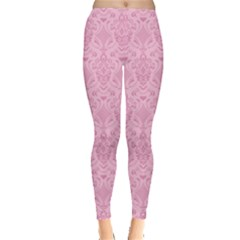 Pink Damask Pattern Leggings  by CoolDesigns