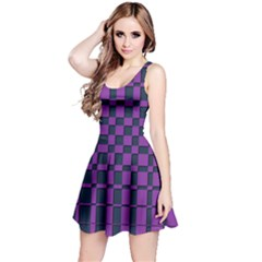 Purple Blue Geometric Pattern Sleeveless Dress