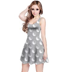 Gray Yin Yang Pattern Sleeveless Skater Dress