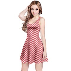 Pink Geometric Pattern Of Triangles Chevron Sleeveless Skater Dress by CoolDesigns