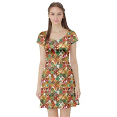 Brown Geometric Pattern Short Sleeve Skater Dress by CoolDesigns