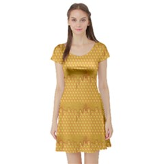 Yellow Honeycomb With Honey Short Sleeve Skater Dress by CoolDesigns