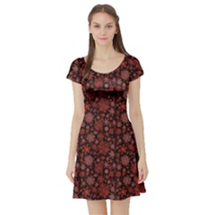 Black Snowflakes Red Pattern Short Sleeve Skater Dress by CoolDesigns