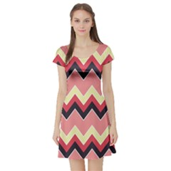 Colorful Chevrons Pattern Retro Vintage Short Sleeve Skater Dress by CoolDesigns