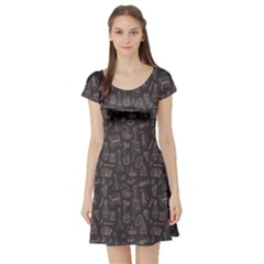 Black Music Pattern Short Sleeve Skater Dress by CoolDesigns