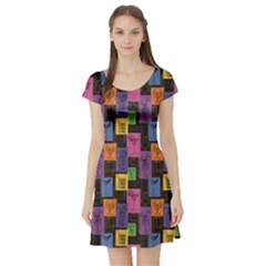 Colorful Geometric Colorful Pattern Of Hand Drawn Sketch Short Sleeve Skater Dress by CoolDesigns