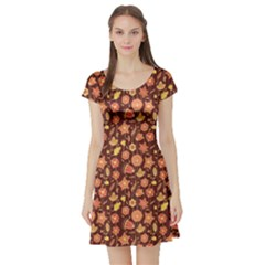 Brown Cute Floral Pattern In Brown Colors Short Sleeve Skater Dress