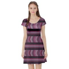 Purple Ethnic African Beads Color Pattern Short Sleeve Skater Dress by CoolDesigns
