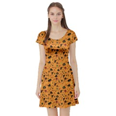 Orange Halloween Pattern Short Sleeve Skater Dress by CoolDesigns
